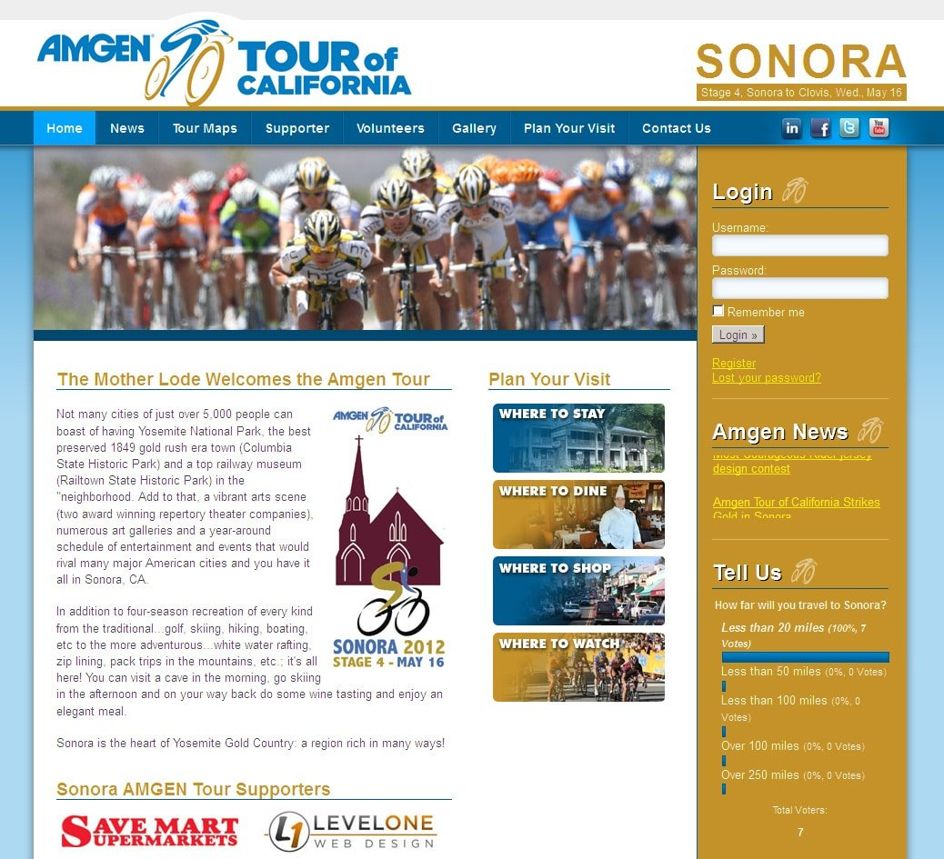 AMGEN Tour of California - Sonora Website Design & Development
